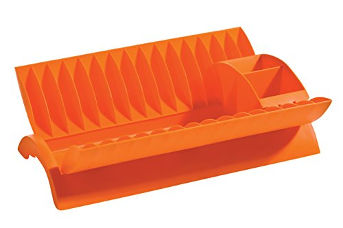 Abtropfgestell mit entfernbarem Besteckkorb orange