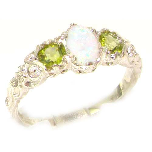 Ladies Solid Sterling Silver Natural Opal & Peridot English Victorian Trilogy Ring - Size 12 - Finger Sizes 5 to 12 Available - Suitable as an Anniversary ring, Engagement ring, Eternity ring, or Promise ring
