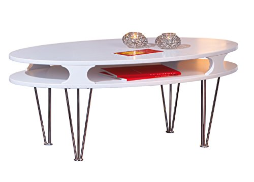 50300205 Couchtisch weiß matt Glastisch Wohnzimmertisch Wohnzimmer Tisch oval modern NEU