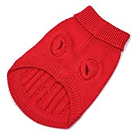 Red Cute Pet Puppy Cat Dog Warm Jumper Sweater Knitwear Coat Apparel Clothes (M)