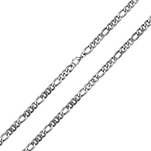 Bling Jewelry Men Stainless Steel Figaro Chain 4mm Necklace 24in