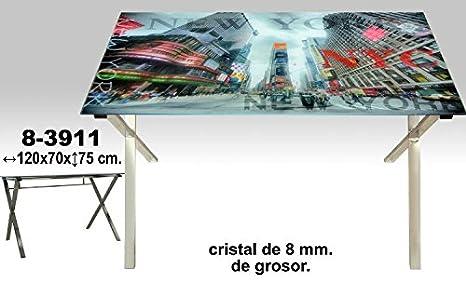DonRegaloWeb - Mesa de metal cromado sobre cristal decorado con motivos de Nueva York