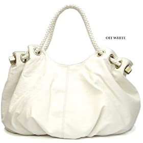 Oversized Satchel/Handbag with Braided handles - White - Free Shipping