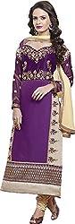 Shree Sai Exports Women's Georgette Unstitched Dress Material (Purple)