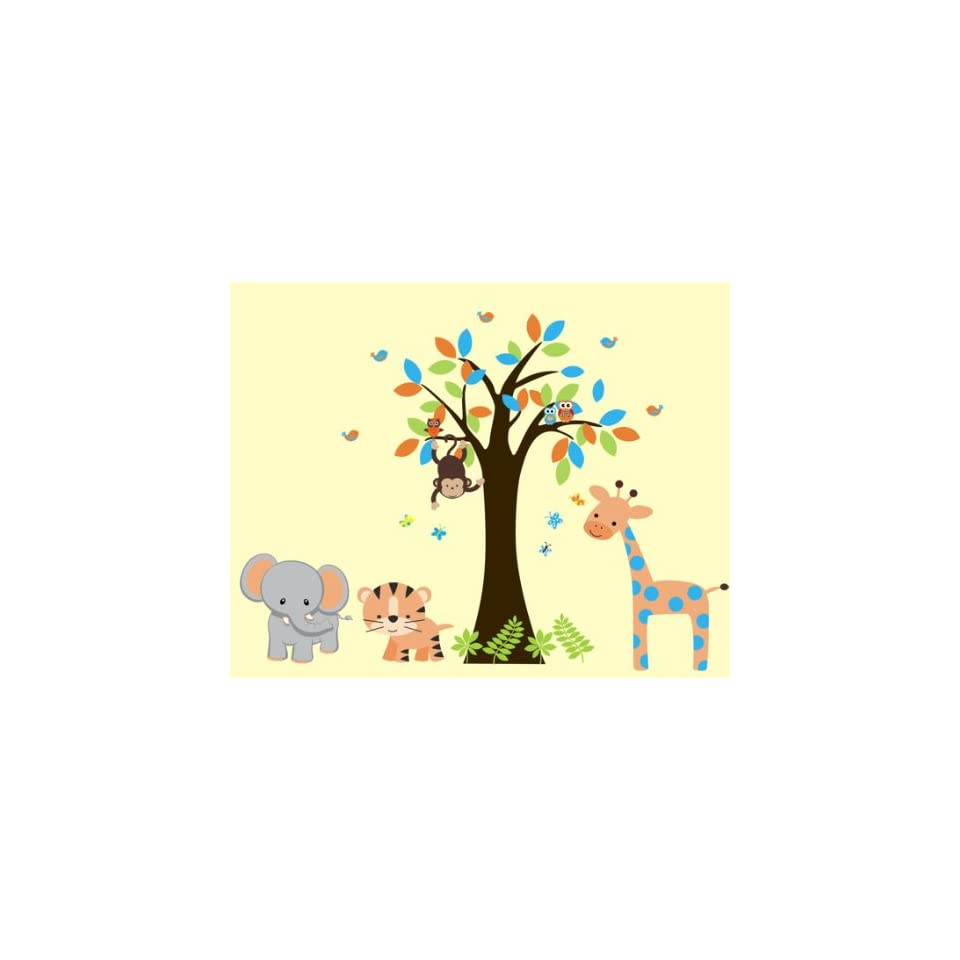 Baby nursery wall decals safari jungle childrens themed 83 for Baby jungle safari wall mural