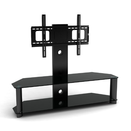 1home Cantilever Glass TV Stand with Bracket for 32 to 52 inches Plasma LCD TV Black Tube 2 Shelves