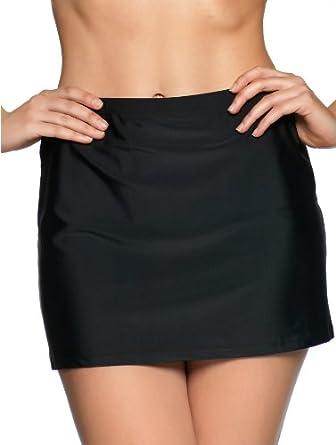 M&Co Ladies Flattering Skirted Bikini Beach Swim Briefs Pants Black 10