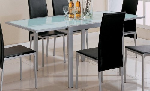 Cheap Dining Table with Frosted Glass Top Silver Metal Finish (VF_120211)