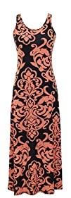 Peach Couture Damask   Print Summer Sleeveless Tank BodyconMaxi