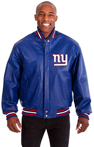 New York Giants Men's Leather Jacket with Hand Crafted Leather Team Logos (Large) (Giant Jordan Box Draw compare prices)