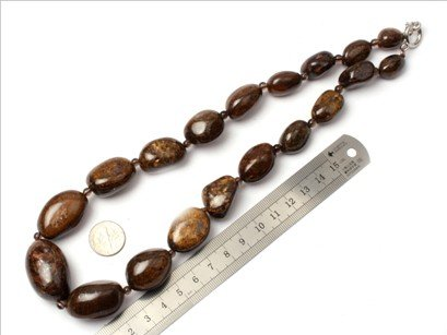 16--30mm graduated gemstone Bronzite beads strand necklace 18