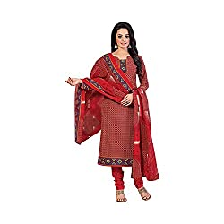 MAC Maroon Printed Unstitched Salwar Suit for Women
