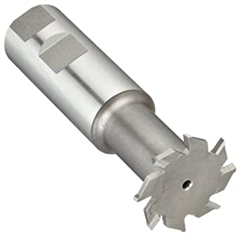 "Niagara Cutter N10950 T-Slot Shank Type Cutter, High Speed Steel, Uncoated (Bright), Weldon Shank, 10 Helix Angle, 1-1/2"" Cutter Diameter, 8 Tooth, 1/8"" Width"