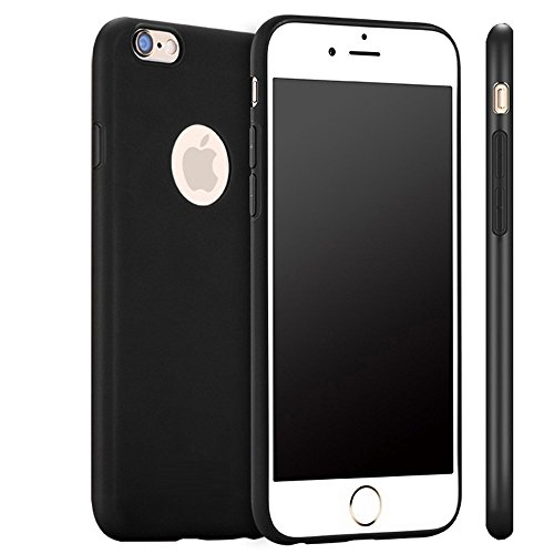 iPhone 6S Case , KAMII iPhone 6 6S Case (4.7 Inch) Soft Style [Lifetime Warranty] Protective SOFT-Interior Scratch Protection Finished Hard Cases Cover (Black)