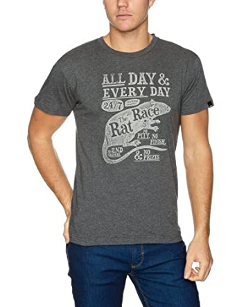 Bench Ratrace Logo Men's T-Shirt Dark Grey Marl XX-Large