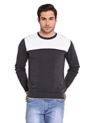 Bunai Grey Knitted Cotton Color Blocked Pullover