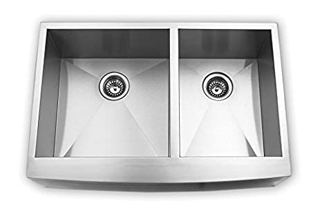 "Blue Ocean 36"" KSA125 16 Gauge Stainless Steel Double Bowl Apron Kitchen Sink with FREE Grids and Strainers"