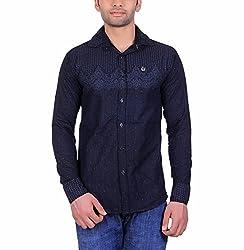 Cotblend Men's Casual Shirt (COTBLEBD22-M, Black, M)