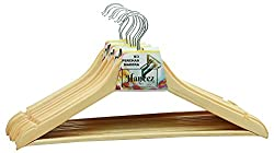 Haneez Wooden Clothes Hangers / Hangars (17in) of Good Quality, Brown (Pack of 24)