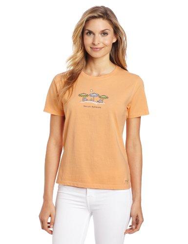 Life is good Women's Social Network Umbrella Crusher Tee, Tangerine Orange, Medium