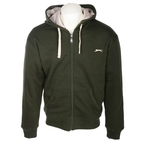 Slazenger Men's Forest Green Branded Hooded Sweatshirt With Faux Fur Lining in Size XL