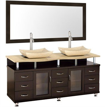 Accara 72 Inch Double Bathroom Vanity - Espresso w/ Ivory Marble Counter