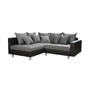 Ecksofa couchgarnitur eckcouch sofa schwarz grau for Ecksofa schwarz kunstleder