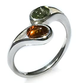 "Sterling Silver Multi-Color Amber ""Twig"" Collection Ring"