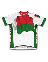Madagascar Flag Short Sleeve Cycling Jersey for Women