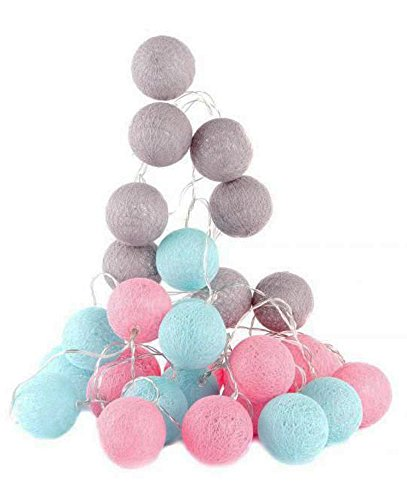 Guirlande lumineuse LED boules coton, Couleurs rose & bleu, 3 mètres