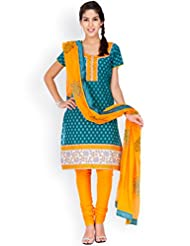 EQ Green Colour Super Fine Cotton Cambric Salwar Suit.