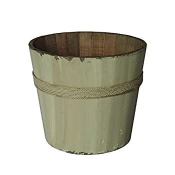 Cheungs Home Decorative White Wooden Round Bucket
