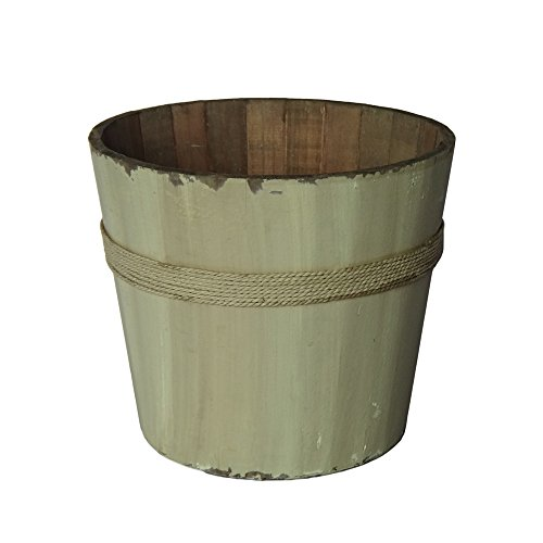 Cheungs Home Decorative White Wooden Round Bucket 0