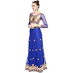 Blue With Net Patli Satin inner With Chiffon Pallu Designer Style Lehenga Choli.