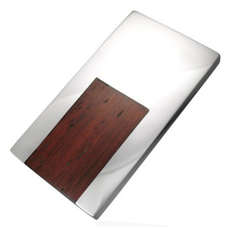 Jewellery Republic Mens Stainless Steel Designer Money Clip Set With Wood with Gift Box