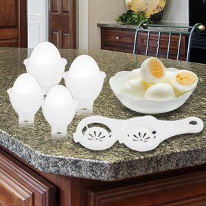 The Best Eggies Deluxe Plastic Egg Cooker Set - Never Peel a Hard-Boiled Egg Again!-23087 - The Eggies Deluxe Plastic Egg Cooker Set makes it possible to finally enjoy hard-boiled eggs without peeling a single shell. Just crack, cook, and twist! Eggies ar