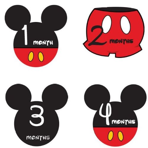 Monthly Stickers Monthly Baby Boy Mickey Mouse Monthly Stickers Waterproof Baby Shower Gift front-826653