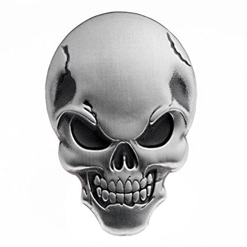 Astra Depot 1X 3D Chrome Silver Skull Demon Bone Emblem Decal Sticker Fairing Fender Motorcycle Sport Bike (Harley Metal Emblem Sticker compare prices)