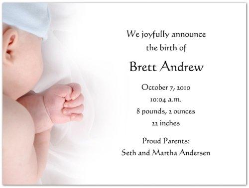 Baby Boy Birth Announcements - Set of 20