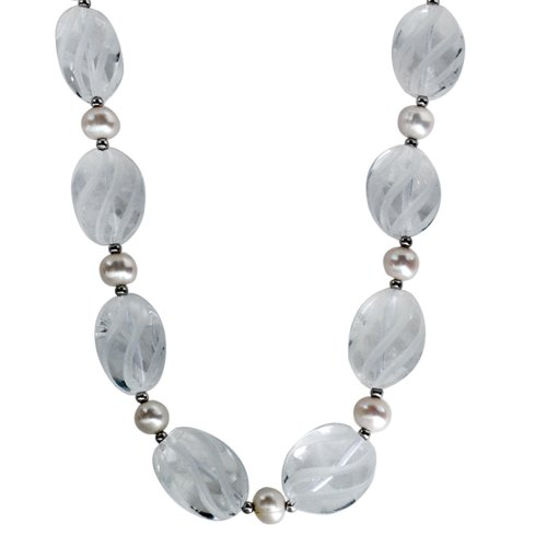 8-8.5mm Freshwater Cultured White Pearl and Etched Spiral Crystal Necklace Accented with Sterling Silver Beads and Clasp, 18