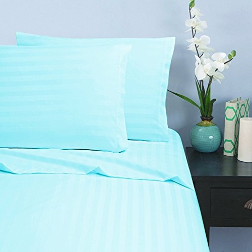 Elegant Comfort®Damask-Stripes 1500 Thread Count Egyptian Quality Wrinkle & Fade Resistant - Luxurious Silky Soft 4Pc Sheet Set, Deep Pocket, Queen, Aqua front-996243