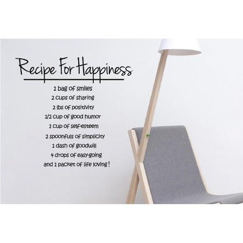 amazon     recipe for happiness vinyl wall art