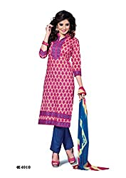 DARPAN TEXTILES Ethnicwear Women's Dress Material Pink_Free Size