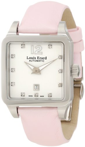 Louis Erard Women's 20700AA11.BDS60 Emotion Square Automatic Pink Satin Diamond Watch
