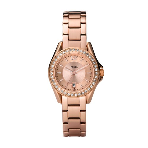 Fossil Ladies Mini Riley Watch Es2889 With Rose Gold Coloured Dial, Rose Gold Ip Stainless Steel Case And Bracelet