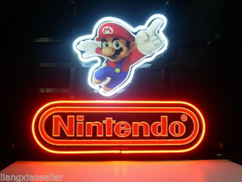 "New Nintendo Super Mario Real Glass Neon Light Sign Display Beer Bar Pub Store Club Garrag Dealers Windows Garage Wall Sign 17w""x 14""h"