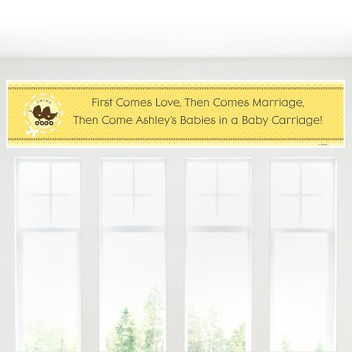 Banner - Twin Neutral Baby Carriages - Personalized Baby Shower Banner front-116079