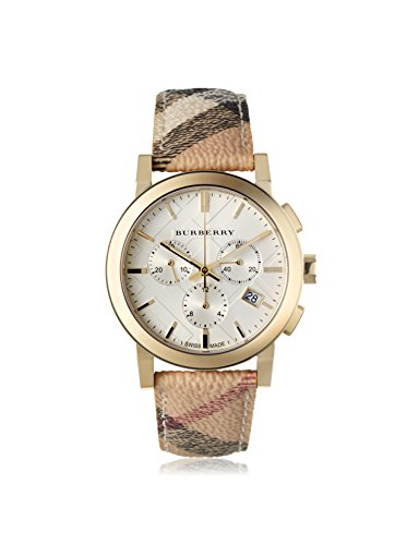 Burberry-The-City-Chronograph-Wei-Zifferblatt-Unisex-Armbanduhr-Haymarket-Check-bu9752