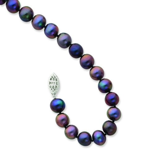 Silver 7-8mm Black Freshwater Cultured Pearl Necklace. 18in long Necklace.