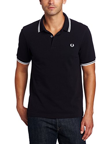 FRED PERRY FP Twin Tipped Shirt, Maglietta Uomo, Navy/White, L